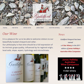Guildford Vineyard and Cellar responsive website